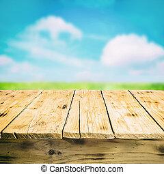 de madera, campo, vacío, aire libre, tabla