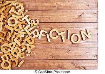 de madera, cartas, hecho, palabra, ficción