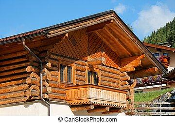 de madera, chalet, balcón, alpino