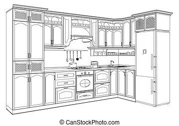 de madera, cocina