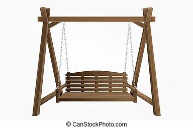 de madera, columpio, banco, ahorcadura, pórtico, marco