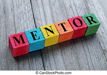 de madera, cubos, palabra, mentor, colorido