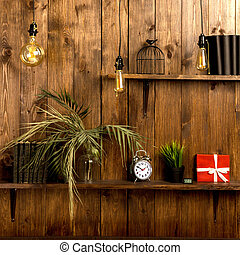 de madera, desván, elegante, pared, caoba, style., estantes