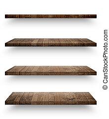 de madera, estante, plantilla, aislado, conjunto