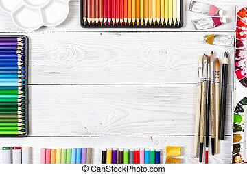 de madera, fondo., blanco, artista, espacio de trabajo