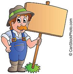 de madera, granjero, tabla, tenencia, caricatura