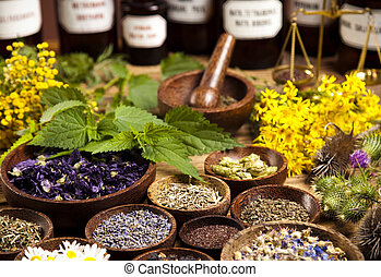 de madera, hierbas, fresco, medicinal, escritorio