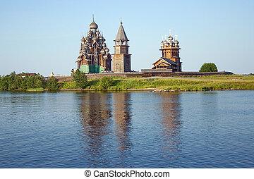 de madera, iglesias, kizhi, isla