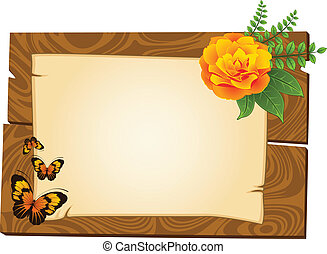 de madera, indicadores, flores