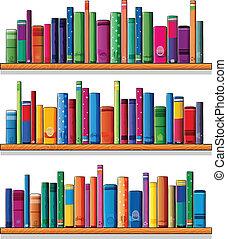de madera, libros, estantes
