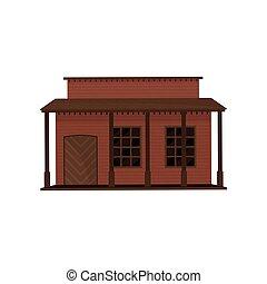 de madera, madera, vector, puerta, diseño, casa pequeña, viejo, edificio., occidental, porch., oeste, plano, town., arquitectura