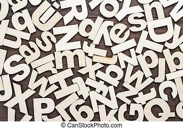de madera, mayúscula, minúscula, cartas, plano de fondo