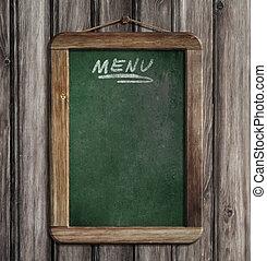 de madera, menú, pared, pizarra, verde, ahorcadura, viejo