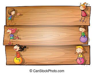 de madera, niños, juego, signage