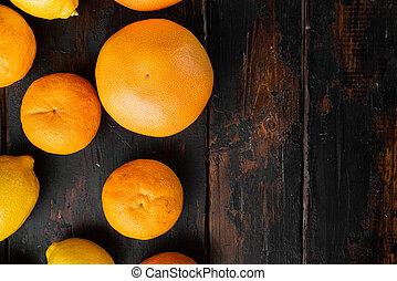 de madera, oscuridad, fruits, orgánico, viejo, texto, tabla, plano de fondo, vista, copia, cima, fruta cítrica, colocar, maduro, plano, espacio