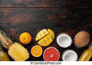 de madera, oscuridad, fruits, surtido, texto, diferente, plano de fondo, tabla, vista, copia, cima, colocar, espacio, plano, viejo