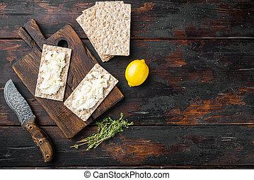 de madera, oscuridad, viejo, bread, fresco, texto, queso, tabla, plano de fondo, vista, copia, cima, colocar, espacio, plano, crema