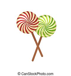 de madera, palos, dulce, lollypops, aislado, ilustración, cruzado