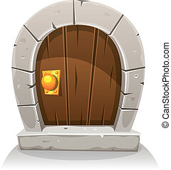 de madera, piedra, puerta, caricatura, hobbit