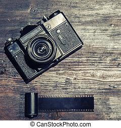 de madera, plano de fondo, cámara, vendimia