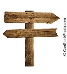 de madera, poste indicador, señal, flecha, poste, o, camino