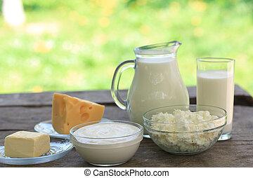 de madera, productos lácteos, tabla