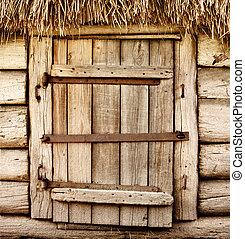 de madera, rústico, viejo, puerta