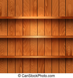 de madera, realista, estantes