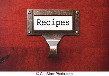 de madera, recetas, etiqueta, lustroso, archivador