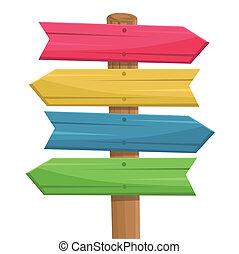 de madera, ruta, vector, señal
