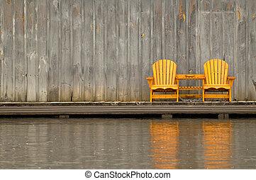 de madera, sillas, dos