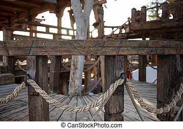 de madera, soga, cierre, pasamanos, arriba., intertwined