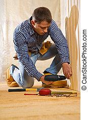 de madera, solo, espacio trabajo, hombre