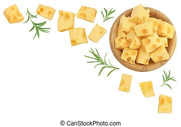de madera, text., fondo., blanco, plano, queso, su, tazón, colocar, pedazo, espacio, copia, punta la vista, aislado