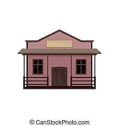 de madera, vector, blanco, casa pequeña, signboard., viejo, occidental, pórtico, edificio., saloon., oeste, plano, icono, salvaje