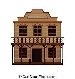 de madera, vector, diseño, blanco, signboard., viejo, house., bar, pórtico, occidental, oeste, plano, balcón, salvaje