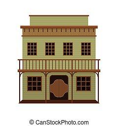 de madera, vector, doors., balanceo, house., viejo, norteamericano, bar, pórtico, architecture., oeste, plano, icono, two-storey, salvaje