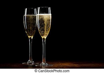 de madera, vidrio, champaña, dos, tabla