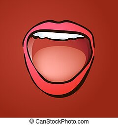 de par en par, boca, reír, hembra, abierto, illustratoin