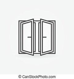 de par en par, ventana, abierto, icono