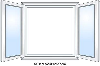 de par en par, ventana, abierto