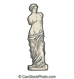 de, tabla, dibujado, camiseta, bosquejo, impresión, design., estatua, negro, imitation., rasguño, mano, venus, milo, image., ropa, blanco, illustration., grabado, vector, griego, antiguo