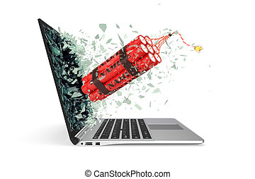 de, toma, computador portatil, rotura, ilustración, particles., vidrio, pequeño, bomba, pantalla, 3d