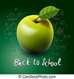 De vuelta a la escuela, con manzana verde sobre la mesa