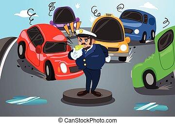 De vuelta a la escuela, el policía de carteles dirige el tráfico