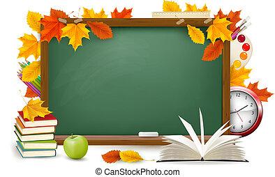 De vuelta a la escuela. Escritorio verde con suministros escolares y hojas de otoño. Vector.