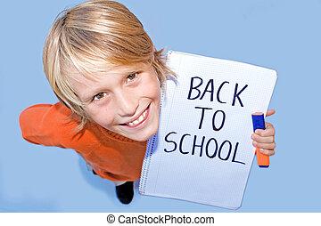 De vuelta a la escuela, estudiante feliz
