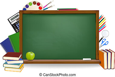 De vuelta a la escuela. La junta verde con suministros escolares. Vector.