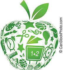 De vuelta a la escuela, manzana con iconos educativos