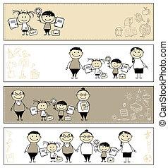 De vuelta a la escuela, niños con padres, estandartes para tu diseño